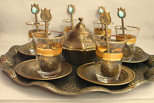Turkish TEA BIG Set :Glass Cups Dishes Spoons Round Tray Sugar Bowl Antic Gold