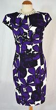 Laura Ashley stunning black white/ purple wiggle dress wedding, races 8 10