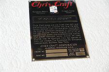 Chris Craft Boat Engine Data plate Acid Etched 4 Vintage ships 19' Double Cockpt