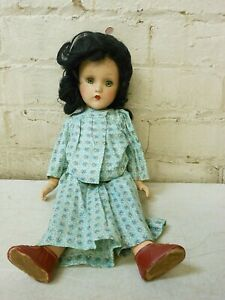 """Vintage 14"""" Sleep Eye Composition Doll w/ Jointed Limbs & Painted Nails"""
