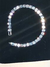 "15 Ct Diamond Tennis Bracelet 6.75"" 1 Row Round Diamonds White Titanium"