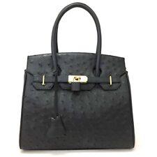 100% Authentic Rhodes Ostrich Genuine Black Leather Hand Bag /3866