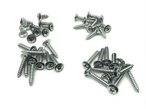 40pcs 4 sizes #8 with #6 phillips oval head flush washer screws chrome fits Ford