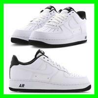 Nike AF1 Air 1 Premium Nero Force Bianco Pelle Scarpe Da