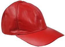Hommes originales 100% souple cuir rouge pré Visière courbe Casquette Baseball