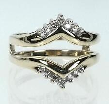 10K Yellow Gold Diamond .18CTTW Solitare Guard Ring Size 7 (B9927)