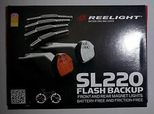 New Reelight SL220 flash backup bike bicycle front & rear light set no batteries