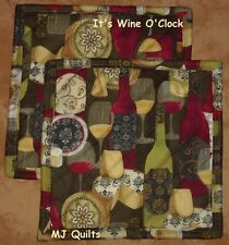 "Set of 2 (8"") Wilmington ""It's Wine O'Clock"" Quilted-Handmade-Insulated-Hot Pads"