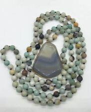 Fashion semi precious stone long Amazonite Stones Natural Pendant Necklace