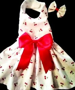 DOG DRESS HARNESS RED CHERRIES  NEW FREE SHIPPING