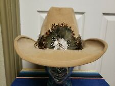 Vintage Camel Western Hat Size 7 1/2 7 3/8 Lots Of Feathers Cowboy Western Dance
