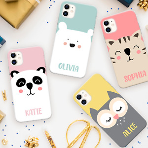 PERSONALISED PHONE CASE CUTE ANIMAL NAME SILICONE COVER FOR 11 12 XR 7 8 IPHONE