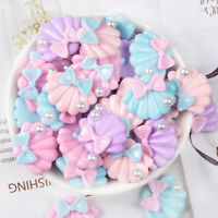 10x Resin Cabochon Kawaii Bow Shell Flatback Embellishment DIY Crafts Decor NT