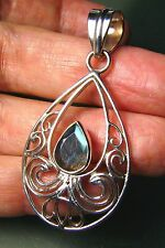 Sterling silver faceted blue fire LABRADORITE stone pendant. Free UK Post