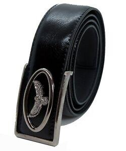 Men's Black Faux Leather Belt with Flying Eagle Buckle Dress Pants Jeans Western