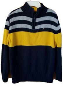 TOMMY HILFIGER boys 1/4 Zip Sz 5 Sweater Flag Logo Yellow Blue Gray