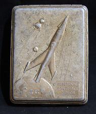 USSR metal cigarette case holder Soviet satellites Space program Russian Rocket