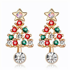 Shiny Bright Red and Green Gold Tone Christmas Tree Sparkle Xmas Party Earrings