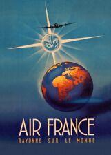 AIR FRANCE SUR LE MONDE Vintage French Travel Poster. Art Deco A3 Print 1940's