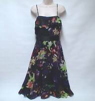 COAST Luxury 100% SILK Bold Multi Col Black Layered Occasion Dress Lined UK 8