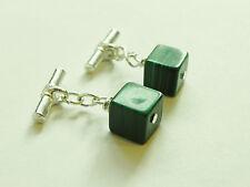 Handmade green malachite cube gemstone silver plated cufflinks