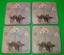 Vintage Set of 4 Cork Back Oriental Orchid Coasters