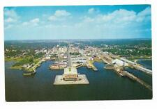 Vintage Florida Chrome Postcard Beautiful Pensacola From The Air Waterfront