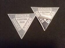 USAF DANGER - EJECTION SEAT FIGHTER AIRCRAFT PLACARD DECALS MATTE BLACK 2 EA.