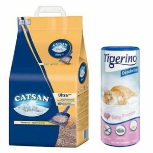 Catsan Ultra Clumping Cat Litter 30L And Tigerino Deodoriser Baby Powder 3x700g