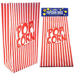 Popcorn Paper Bags Retro Red Stripes Movie Film Night