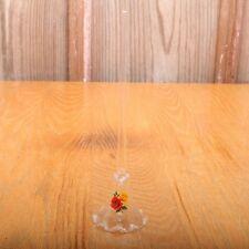Vintage Clear Glass Bell With Flowers Red and Yellow Rose
