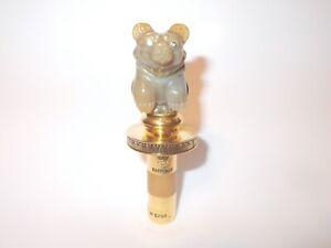 """VTG Faberge Sitting Bear Agate Diamond Eyes 4"""" Wine Bottle Stopper"""