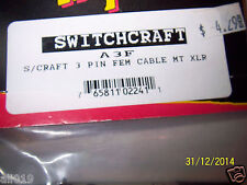 Switchcraft  3 Pin Female A3F XLR  Connector Nickel Plated NEW in Package