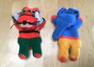 Vintage Crochet Finger Puppet Animals Lot Tiger Elephant Cat 1980s Childrens toy