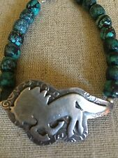 SPIRIT HORSE Turquoise Beads Sterling Silver Signed By Artist