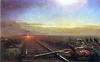 "oil painting 100% handpainted on canvas ""Railway Train Attacked """