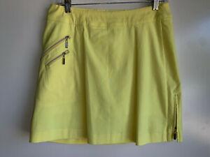 Jamie Sadock Skinnylicious Yellow PullOn Golf Tennis Skort Skirt Size 8 ~ VGUC