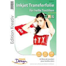 Transferfolie Textil: 32 T-Shirt Transferfolien für weiße Textilien A4 Inkjet