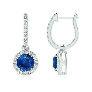 3Ct Round Cut Blue Sapphire Halo Dangle Earrings in 14K White Gold Finish