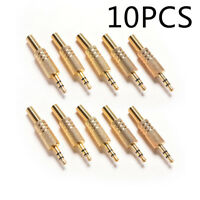 10PCS 1/8 inch 3.5mm Stereo Male Audio Adapter Golden Tone Jack Plug Connector