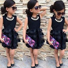 Toddler Kids Baby Girl Black Summer Party Dress Tulle Mesh Tutu Sundress Clothes