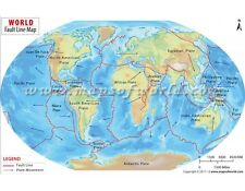 """Fault Lines of the World (Wall Map) 36"""" x 23"""" Laminated"""