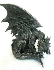 dunkler großer Drache Fantasy Figur Obsidian rote Augen  24 cm hoch gothic WGT