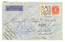 CURACAO FLIGHT CV TO = CHILE= CENSOR -- F/VF -RARE DESTINATION
