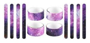 Set of 12 Silicone Galaxy Space Slap Bracelets Birthday Party Goody Bag Toys