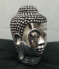 Chrome Silver Buddha Head Sculpture Ornament indoor Decor Home