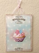 """Shabby French Paris Cupcake Sign Plaque Wall Decor Flowers Distressed  5"""" X 7"""""""