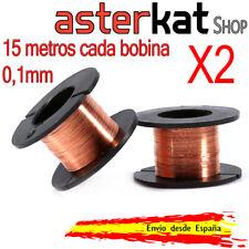 2x Carrete de cobre esmaltado de 0,1mm Bobina Alambre 15m hilo soldadura puentes