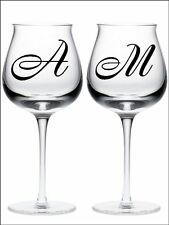New 2 PERSONALISED LETTER INITIALS wine glass vinyl stickers 18 Colour choice 03