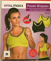 Damen Sport-BH Power Shapers Fitness 2er Set schwarz Gelb Neon M 38